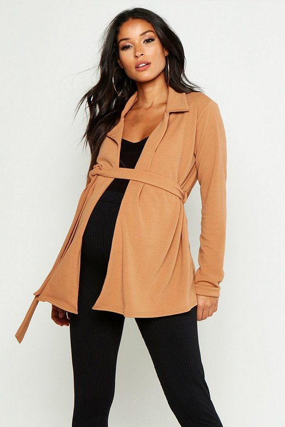 Womens Camel Maternity Mid Length Duster Jacket