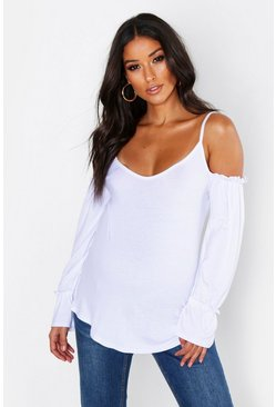 White Maternity Cold Shoulder Gathered Sleeve Blouse