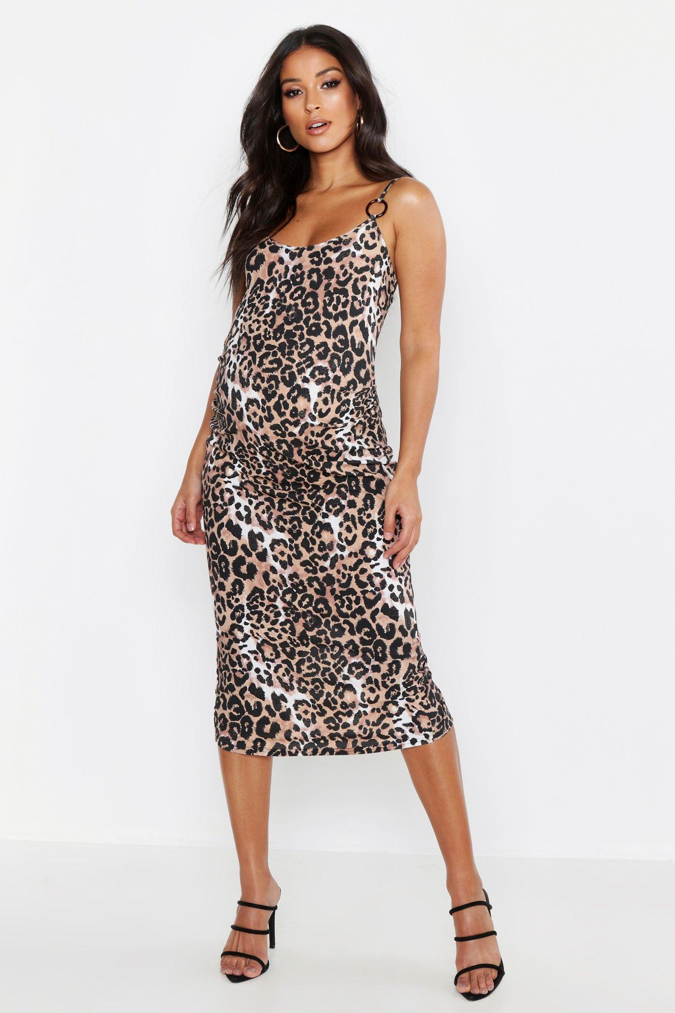 8296317a1b8d5 Vintage Style Maternity Clothes Maternity Leopard Rib Ring Detail Bodycon  Dress $32.00 AT vintagedancer.com