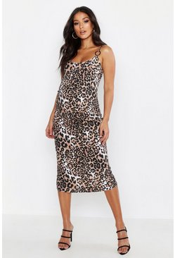Womens Tan Maternity Leopard Rib Ring Detail Bodycon Dress