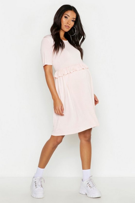 Womens Baby pink Maternity Frill Waist Smock Dress
