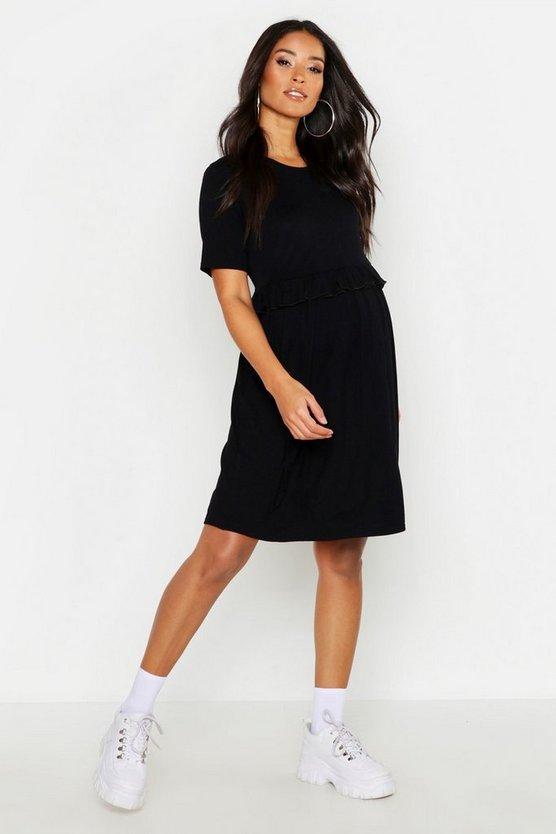 Maternity Frill Waist Smock Dress