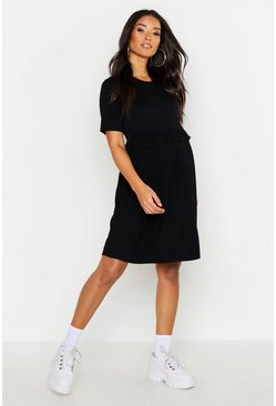 Womens Black Maternity Frill Waist Smock Dress
