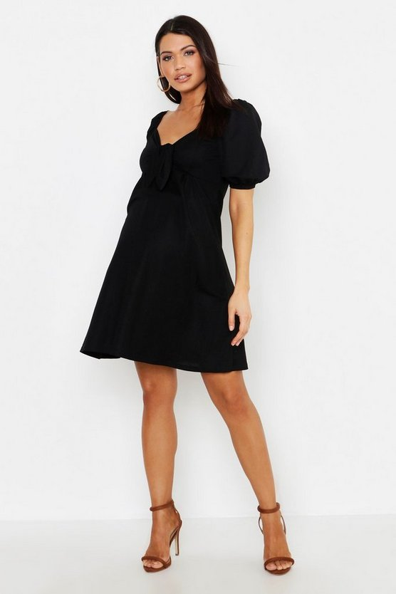 Maternity Tie Front Linen Skater Dress