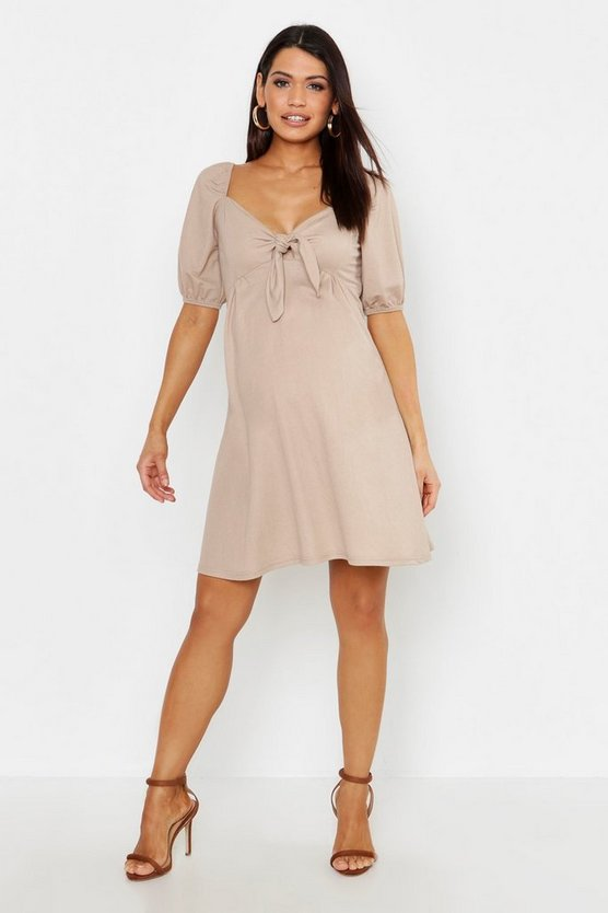 Womens Stone Maternity Tie Front Linen Skater Dress