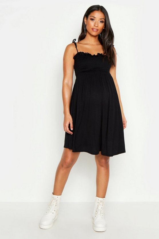 Womens Black Maternity Tie Strap Shirred Mini Dress