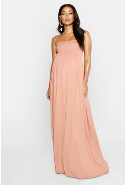 Dusky pink Maternity Shirred Maxi Dress