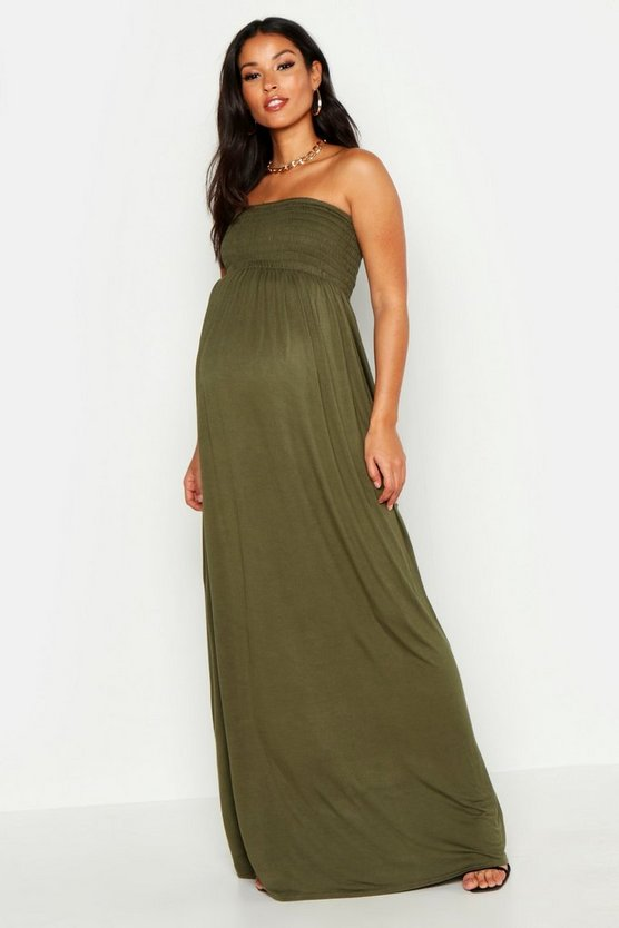 Khaki Maternity Shirred Maxi Dress