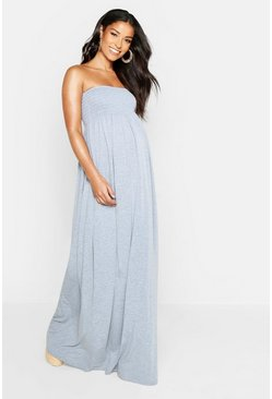 Light grey Maternity Shirred Maxi Dress