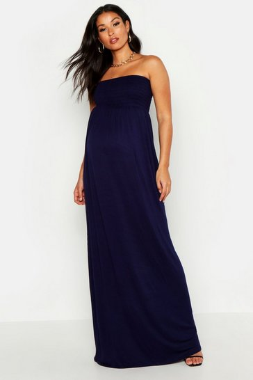 Navy Maternity Shirred Maxi Dress