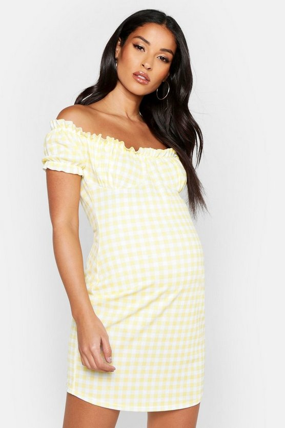 Womens Yellow Maternity Peasent Sleeve Check Shift Dress
