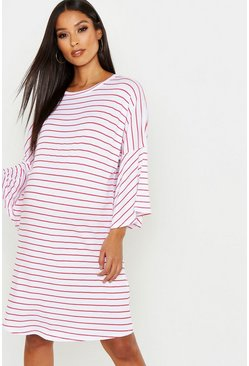Womens Red Maternity Stripe Frill Sleeve Tshirt Dress