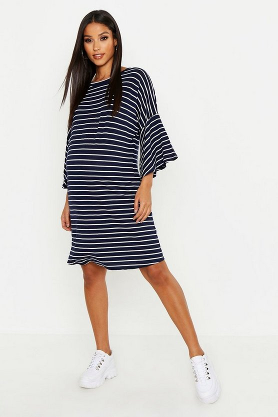 Womens Navy Maternity Stripe Frill Sleeve Tshirt Dress
