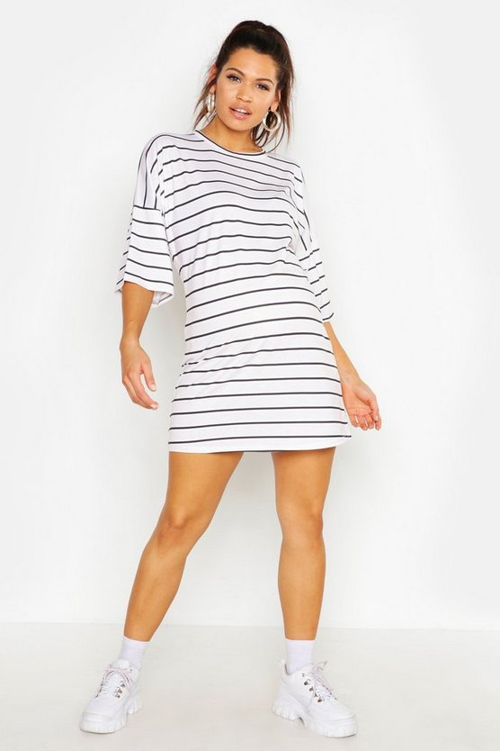 Womens Lilac Maternity Stripe T-Shirt Dress