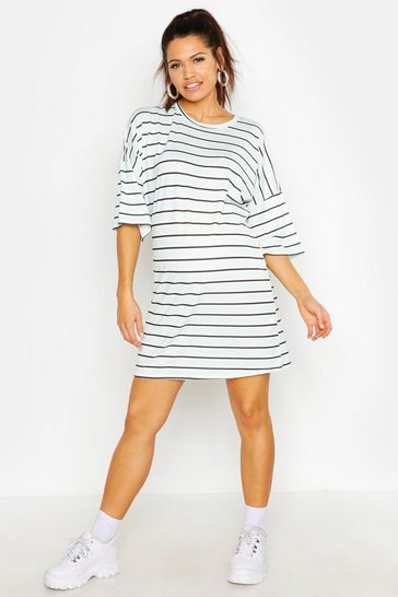 Womens Mint Maternity Stripe T-Shirt Dress