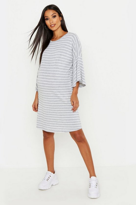 Womens Grey Maternity Stripe Frill Sleeve Tshirt Dress