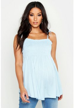 Pastel blue Maternity Tie Strap Shirred Cami Top
