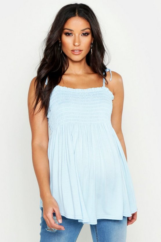 Womens Pastel blue Maternity Tie Strap Shirred Cami Top