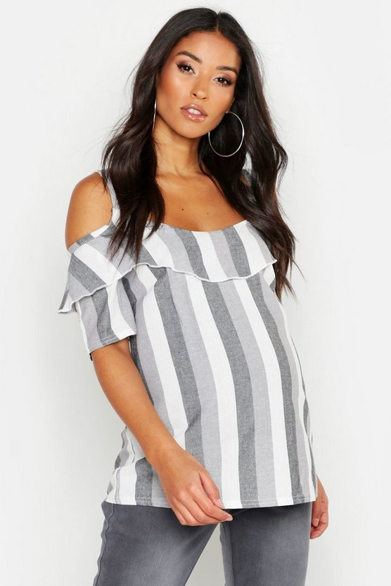 Black Maternity Linen Cold Shoulder Ruffle Top