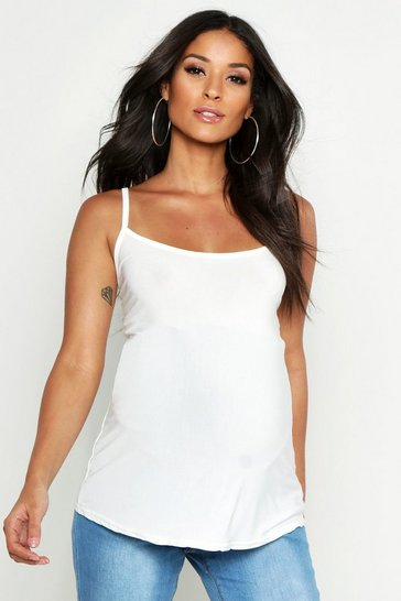 Womens White Maternity Slinky Strappy Cami Top