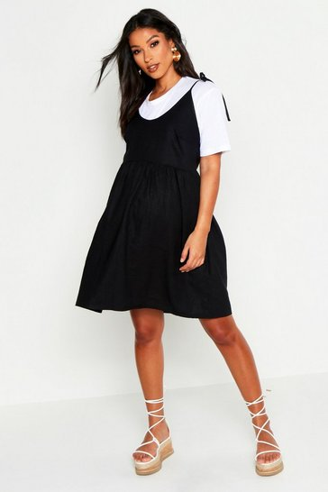 Womens Black Maternity Linen Tie Shoulder Smock Dress
