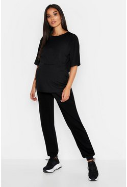 Womens Black Maternity Oversized Rib T-Shirt