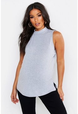Womens Grey Maternity Sleeveless Funnel Neck T-Shirt