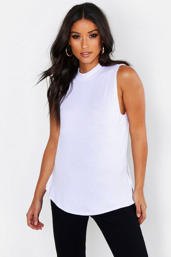 Maternity Sleeveless Funnel Neck T-Shirt
