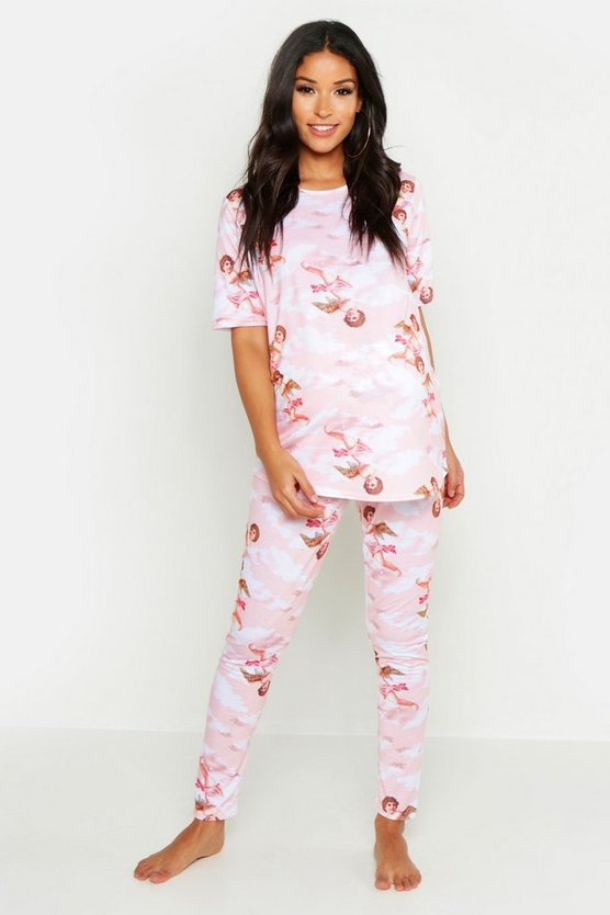 Womens Pale pink Maternity Cherub Print PJ Set