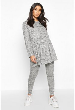 Grey marl Maternity Smock Lounge Set