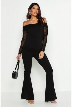Womens Black Maternity Mesh Bardot Jumpsuit