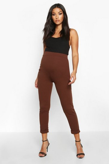 Womens Chocolate Maternity Turn Up Cuff Trouser