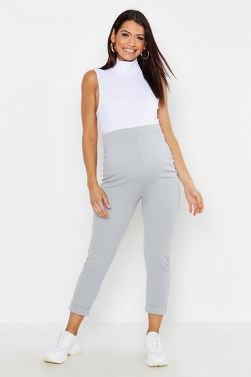 Light grey Maternity Turn Up Cuff Trouser