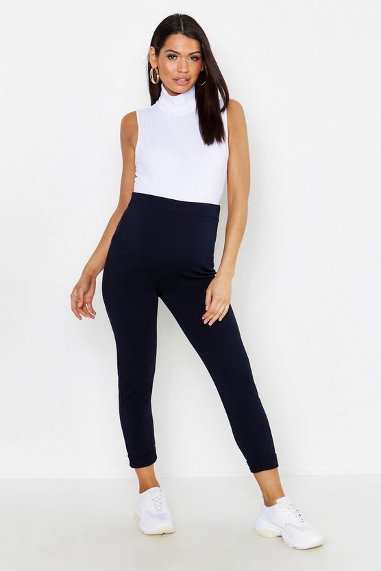Womens Navy Maternity Turn Up Cuff Pants