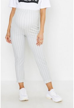 Womens Light grey Maternity Stripe Turn Up Cuff Trouser