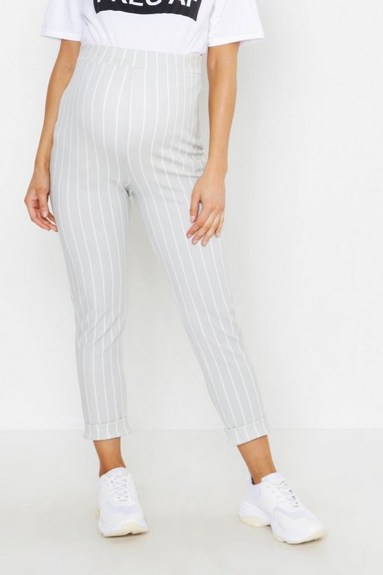 Maternity Stripe Turn Up Cuff Trouser