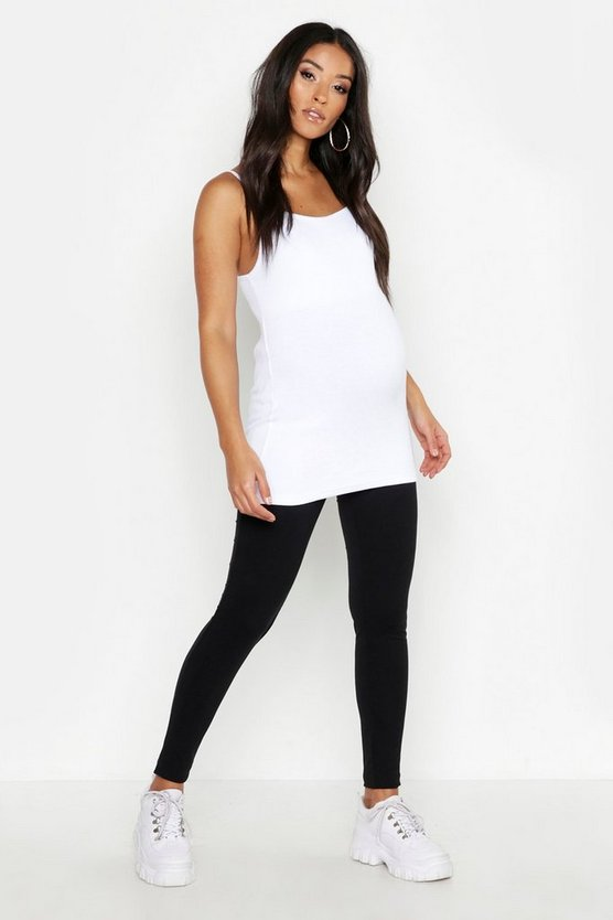 Womens Black Maternity Over The Bump Leggings