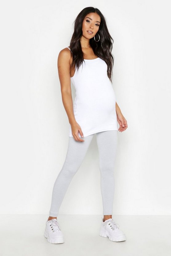 Womens Light grey Maternity Over The Bump Leggings