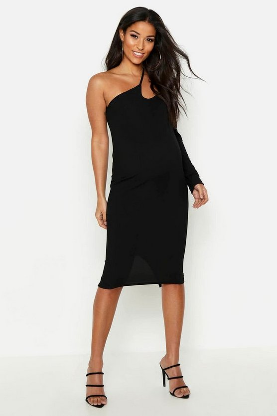Maternity Cross Strap One Shoulder Midi