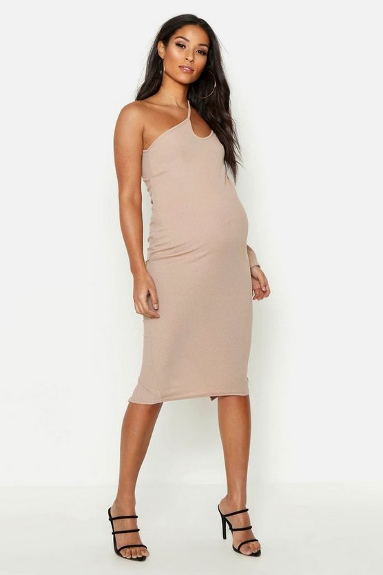 Womens Stone Maternity Cross Strap One Shoulder Midi