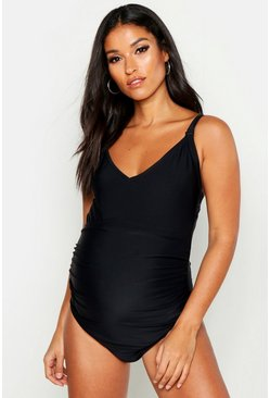 Womens Black Maternity Strappy Nursing Swimsuit