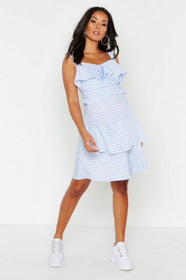Womens Blue Maternity Check Ruffle Shift Dress