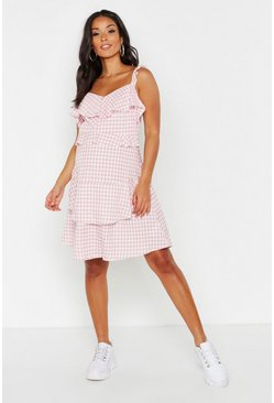 Womens Pink Maternity Check Ruffle Shift Dress