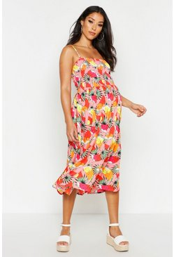 Womens Pink Maternity Citrus Print Shirred Midi Dress