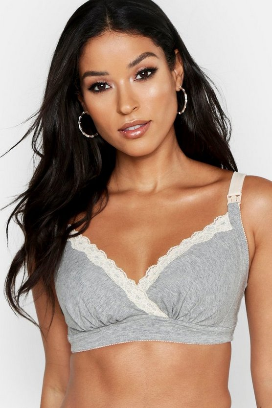 Womens Grey Maternity Lace Trim Nursing Bra