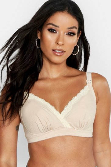 Womens Nude Maternity Lace Trim Nursing Bra