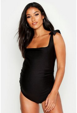Womens Black Maternity Tie Shoulder Swimsuit