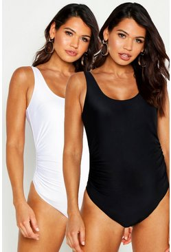 Womens Black Maternity 2 Pack Scoop Neck Swimsuit