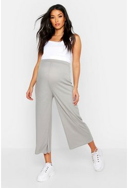 Womens Grey Maternity Over The Bump Rib Culottes