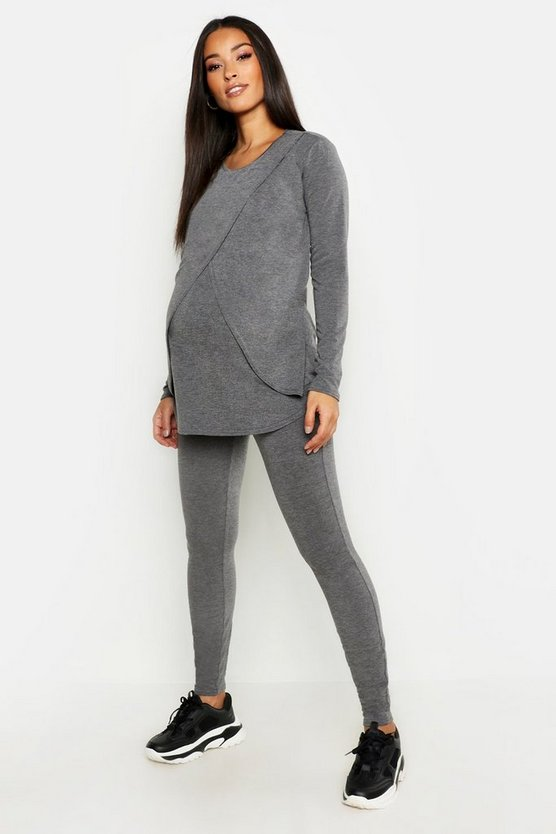 Womens Charcoal Maternity Long Sleeved Nursing Lounge Set